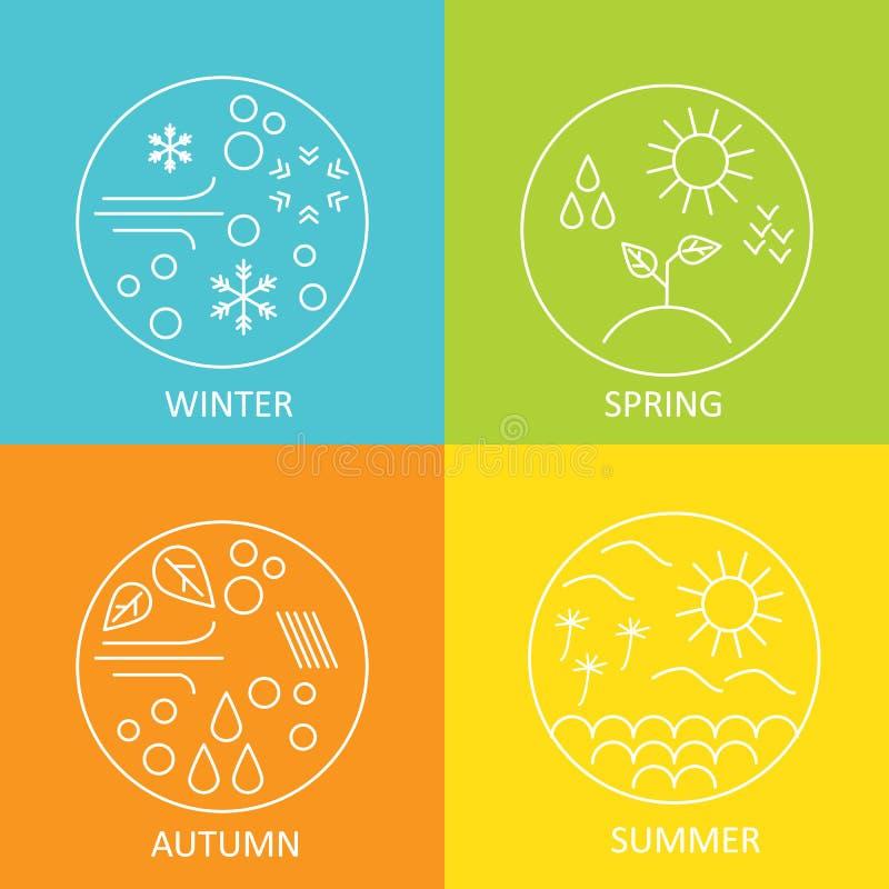 estações O tempo no inverno, na mola, no verão e no outono Os emblemas modernos redondos resistem a todas as estações ilustração stock