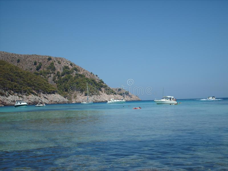 Esta é praia de Cala Agulla, em Balearic Island foto de stock