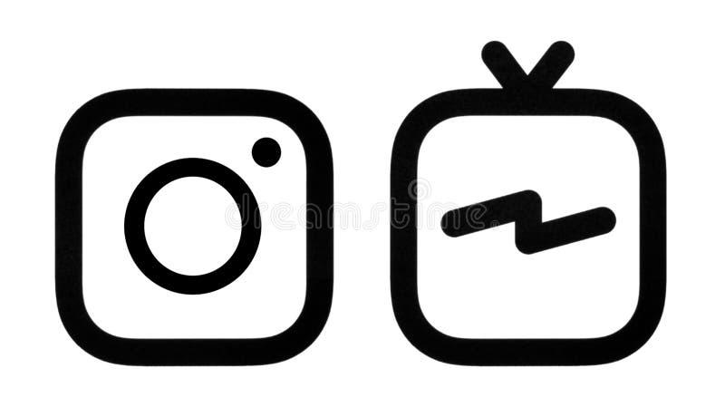Esta é uma foto de logotipos de Instagram e de Instagram IGTV ilustração royalty free