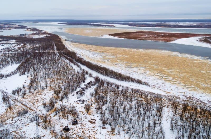 Esta é vista aérea da floresta spruce grossa com um rio grande em um dia de inverno frio imagem de stock royalty free