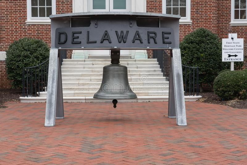 Esta campana de USS Delaware está fuera de los archivos públicos foto de archivo
