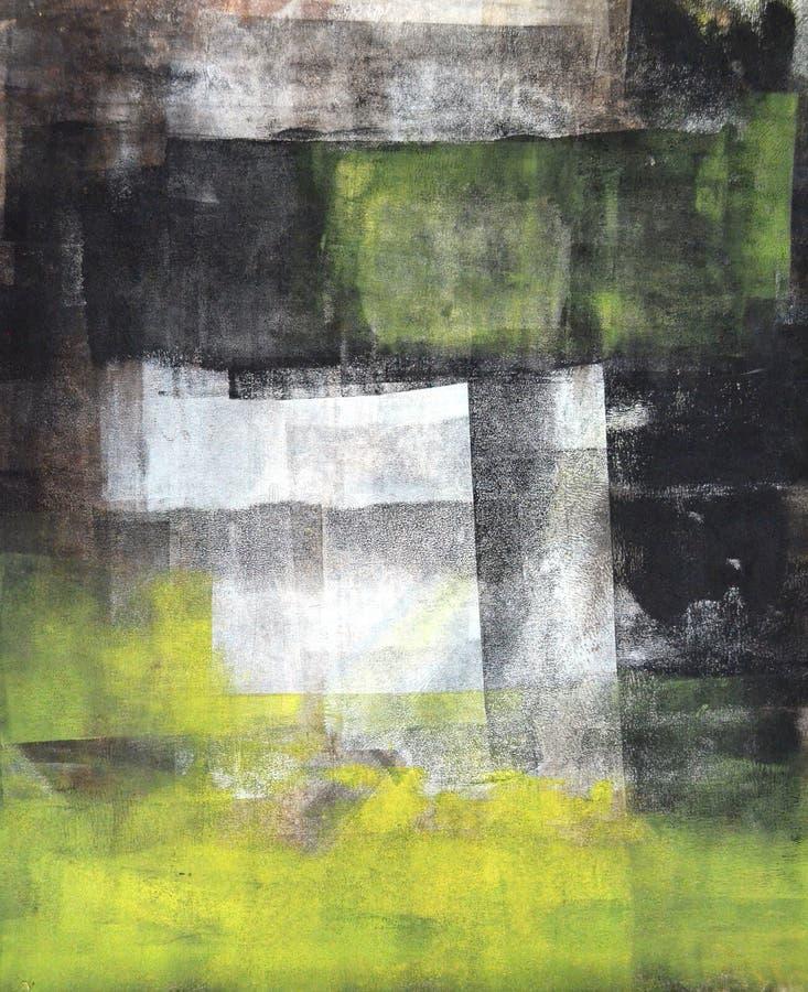 Pintura preta e amarela da arte abstracta fotografia de stock royalty free