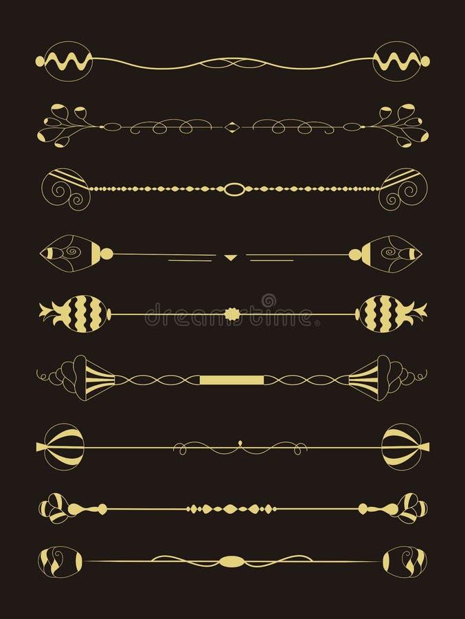 Esta imagem é um grupo de beiras do ornamento do vintage e de divisores decorativos da página ilustração royalty free