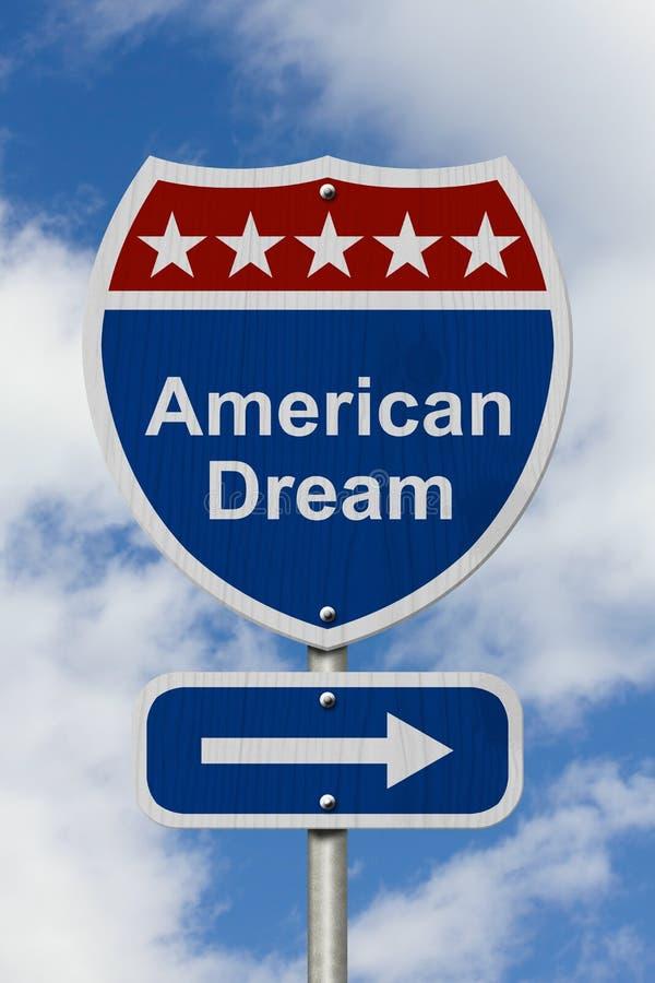 Esta maneira de obter o sinal de estrada do sonho americano imagens de stock