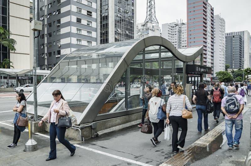 Esta??o de Brigadeiro na avenida de Paulista, SP Brasil de Sao Paulo imagem de stock royalty free