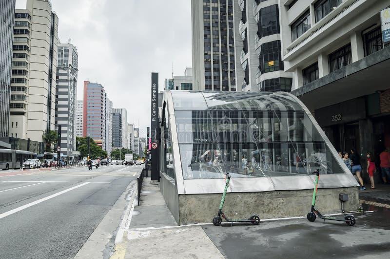 Esta??o de Brigadeiro na avenida de Paulista, SP Brasil de Sao Paulo fotografia de stock