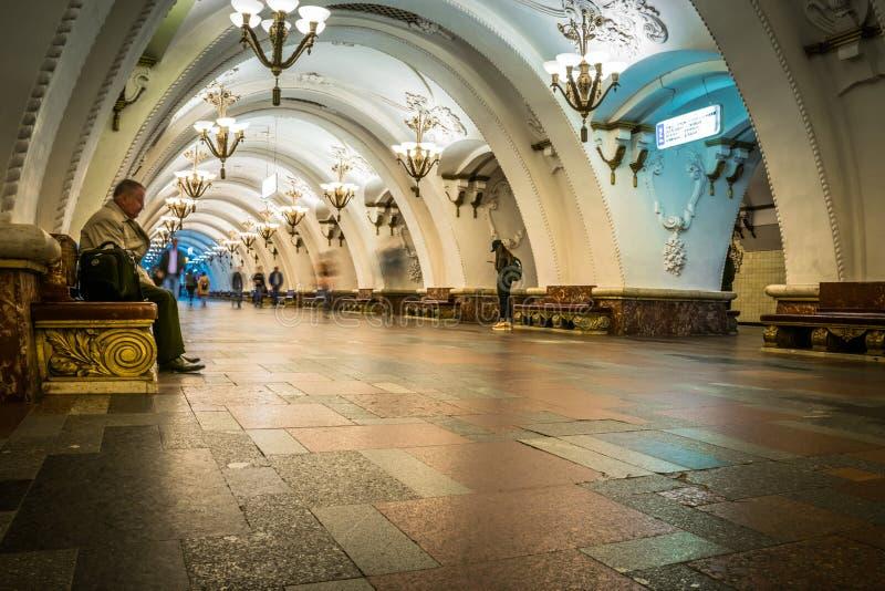 Esta??o de metro de Arbatskaya em Moscou, R?ssia foto de stock