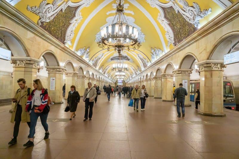 Esta??o de metro de Komsomolskaya em Moscou, R?ssia fotos de stock royalty free