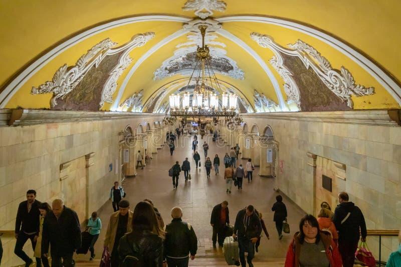 Esta??o de metro de Komsomolskaya em Moscou, R?ssia fotografia de stock royalty free