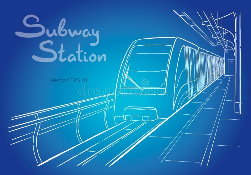 Esta??o de metro tirada m?o da luz de Moscou do esbo?o ilustração do vetor
