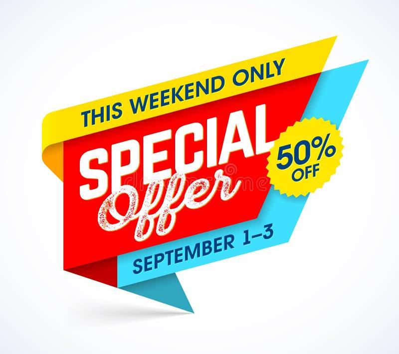 Esta oferta especial do fim de semana somente ilustração royalty free