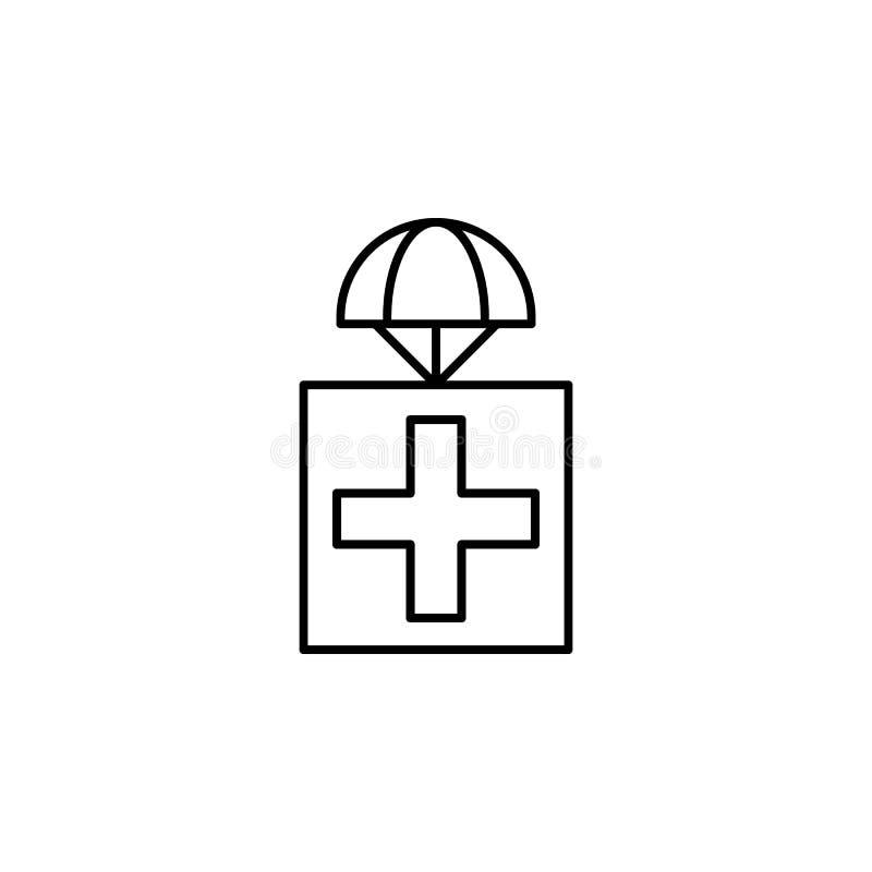 estabeleça como premissa com ícone das medicinas Elemento dos zangões para a ilustração móvel dos apps do conceito e da Web Linha ilustração stock