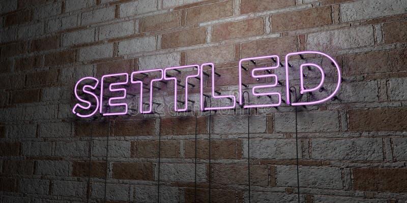 ESTABELECIDO - Sinal de néon de incandescência na parede da alvenaria - 3D rendeu a ilustração conservada em estoque livre dos di ilustração stock