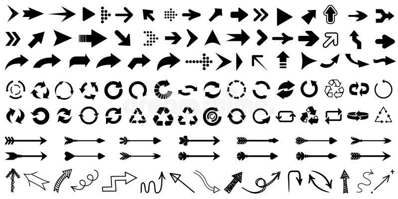Establecer icono de flecha. Signo de flechas diferentes de colección. Flechas vectoriales negras - para material stock de ilustración