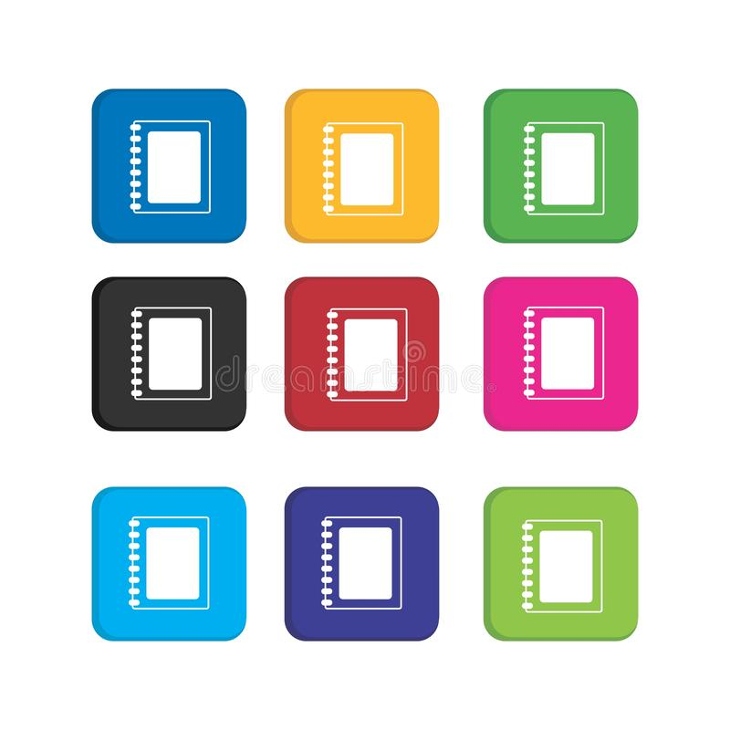 Establecer icono de notas coloridas para la aplicación de teléfonos inteligentes e icono web ilustración del vector