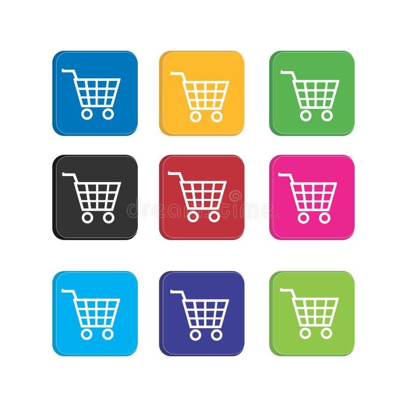 Establecer un carro colorido o icono de trolly para la aplicación de teléfonos inteligentes e icono web stock de ilustración