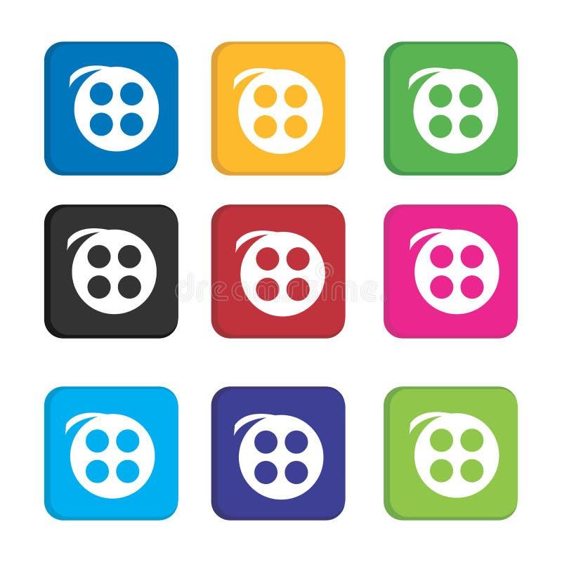 Establecer un colorido icono de vídeo o reproductor de películas para la aplicación de teléfonos inteligentes e icono web libre illustration