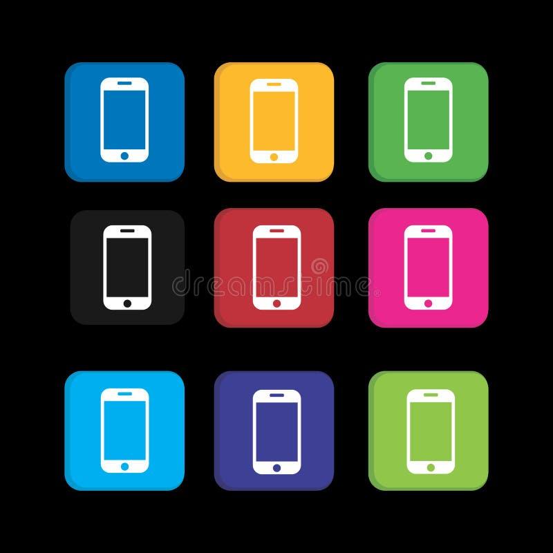 Establecer un icono colorido para la aplicación de teléfonos inteligentes y el icono web stock de ilustración