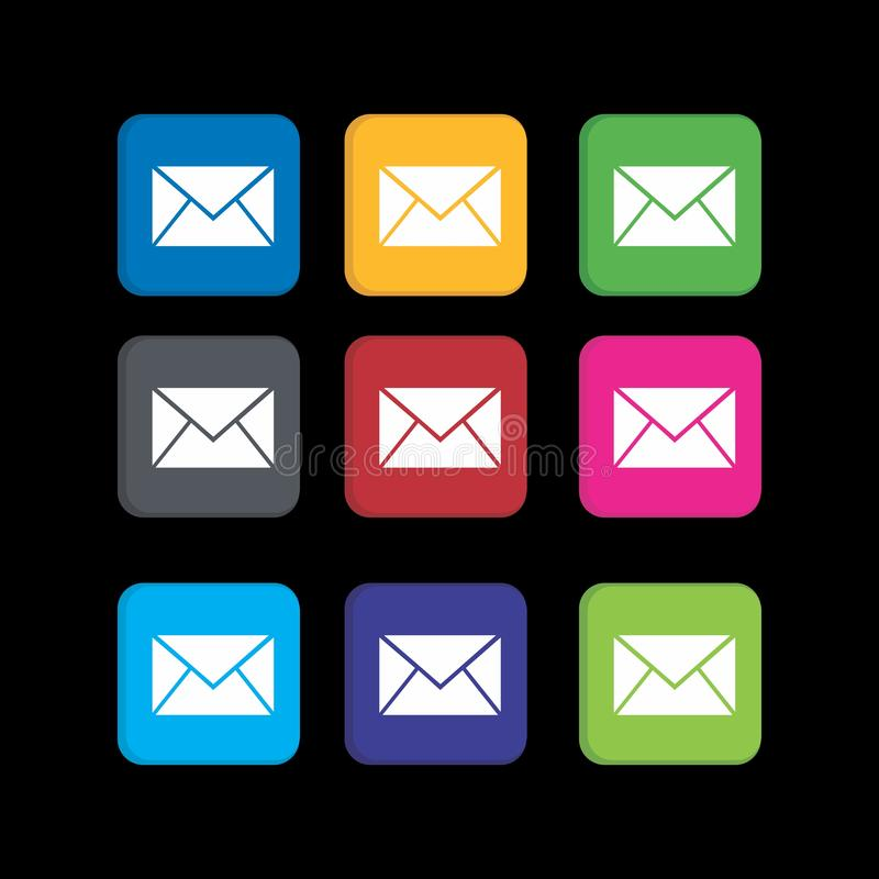 Establecer un icono de mensaje colorido para la aplicación telefónica y el icono web ilustración del vector