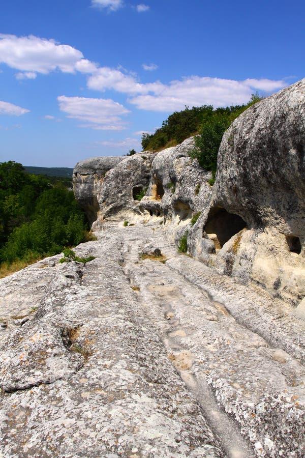 Establecimiento antiguo Eski-Kermen de la cueva imágenes de archivo libres de regalías