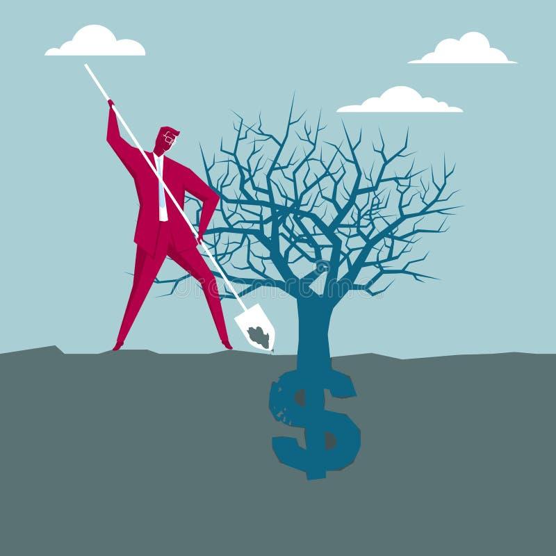 Establecimiento de riqueza, muestra de dólar ilustración del vector