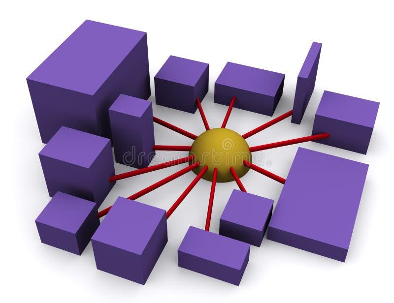 Establecimiento de una red 3 stock de ilustración