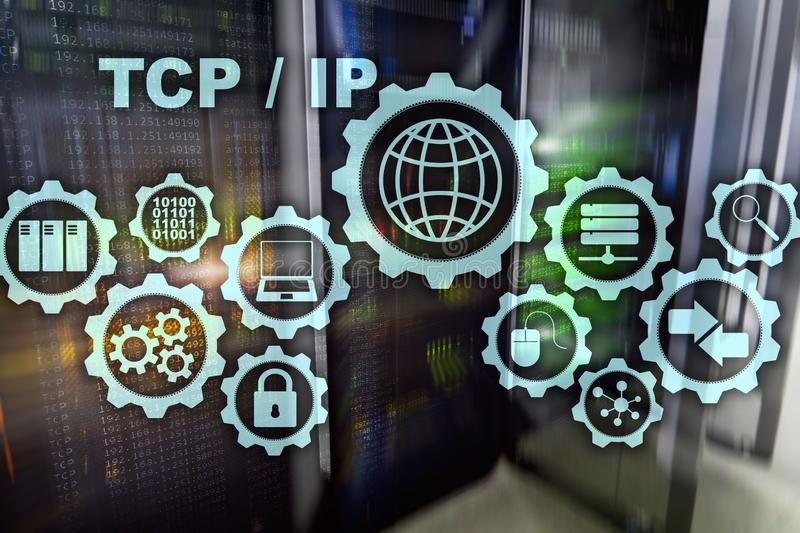 Establecimiento de una red del IP del Tcp Protocolo TCP Concepto de la tecnolog?a de Internet libre illustration