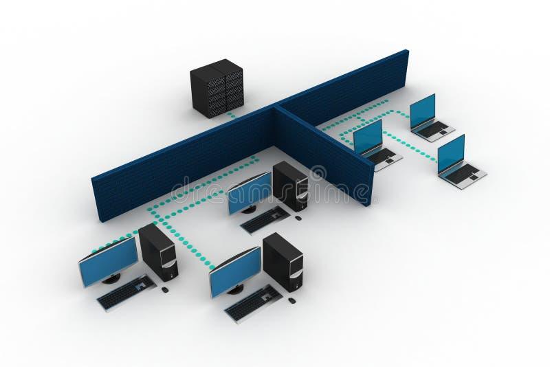 Establecimiento de una red del ordenador ilustración del vector