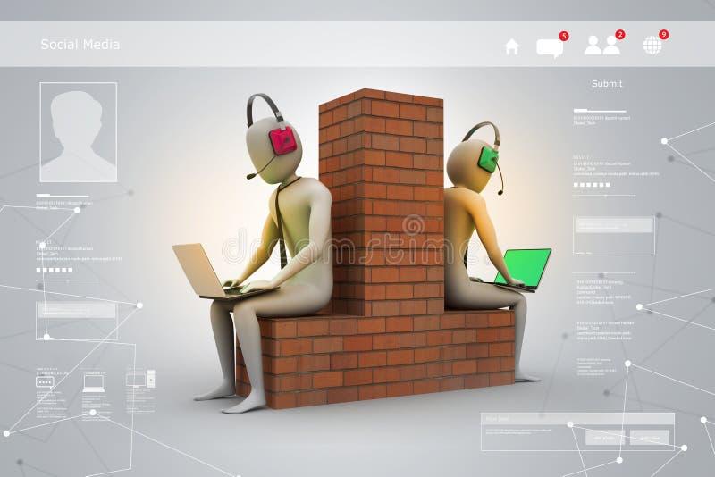 Establecimiento de una red del ordenador entre dos personas ilustración del vector