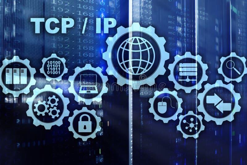Establecimiento de una red del TCP/IP Protocolo TCP Concepto de la tecnolog?a de Internet libre illustration