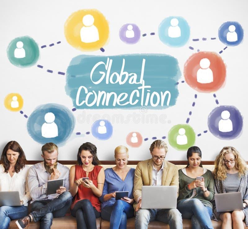 Establecimiento de una red global Conce de la interconexión de la comunicación de la conexión imagen de archivo