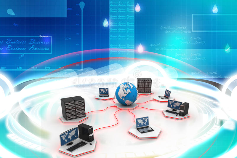 Establecimiento de una red global del ordenador stock de ilustración
