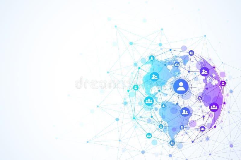 Establecimiento de una red de la estructura y concepto globales de la conexión de datos Comunicación social de la red en las rede libre illustration