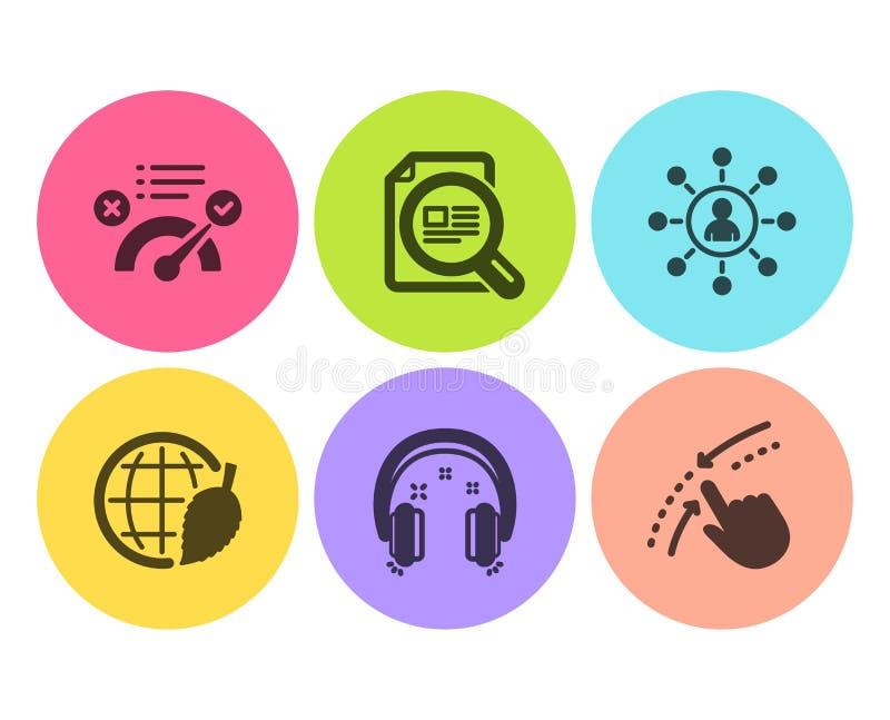 Establecimiento de una red, respuesta correcta y sistema de los iconos del artículo del control Día de los auriculares, del ambie ilustración del vector