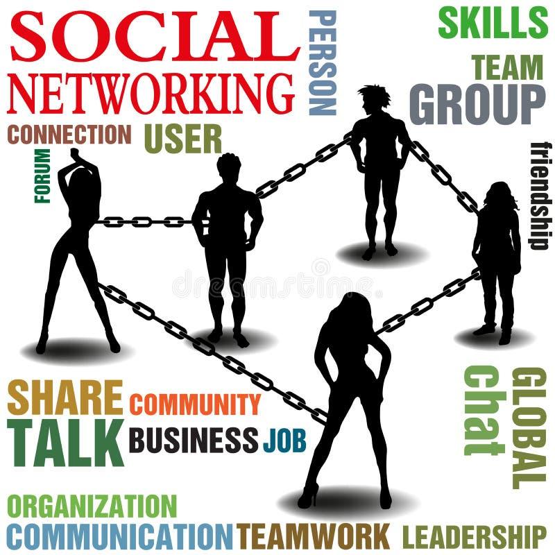 Establecimiento de una red social stock de ilustración