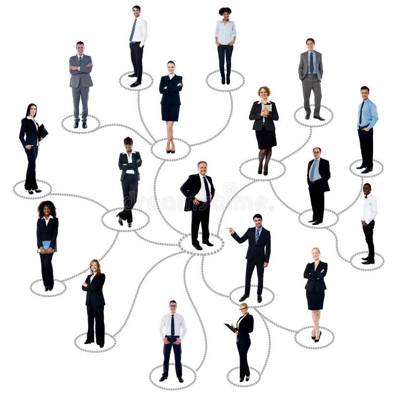 Establecimiento de una red social entre los hombres de negocios fotos de archivo