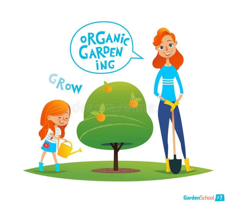 Establecimiento del árbol con los niños Concepto de Eco Plantas de riego de la muchacha en el jardín Acoplamiento a actividades d stock de ilustración
