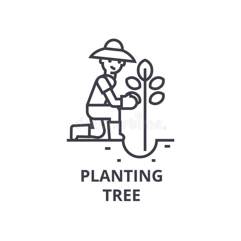 Establecimiento del icono de la hilera de árboles, muestra del esquema, símbolo linear, vector, ejemplo plano stock de ilustración