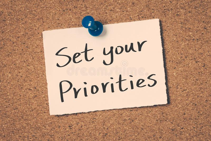 Establezca sus prioridades foto de archivo libre de regalías