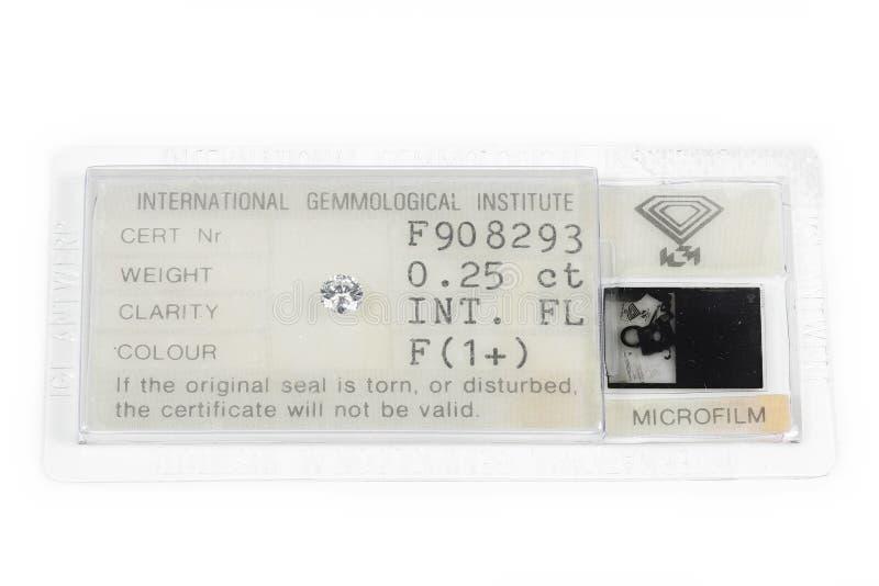 IGI certified 0.25 ct brilliant cut diamond. Established in 1975, International Gemological Institute IGI is the largest independent gemological laboratory royalty free stock photos