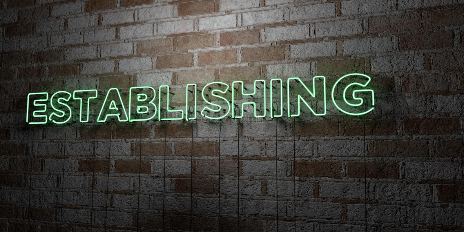 ESTABLISHING - Glowing Neon Sign on stonework wall - 3D rendered royalty free stock illustration. Can be used for online banner ads and direct mailers stock illustration