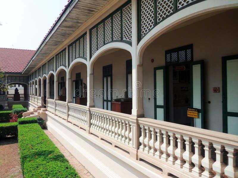Establishment of stone carved balconies stock photo