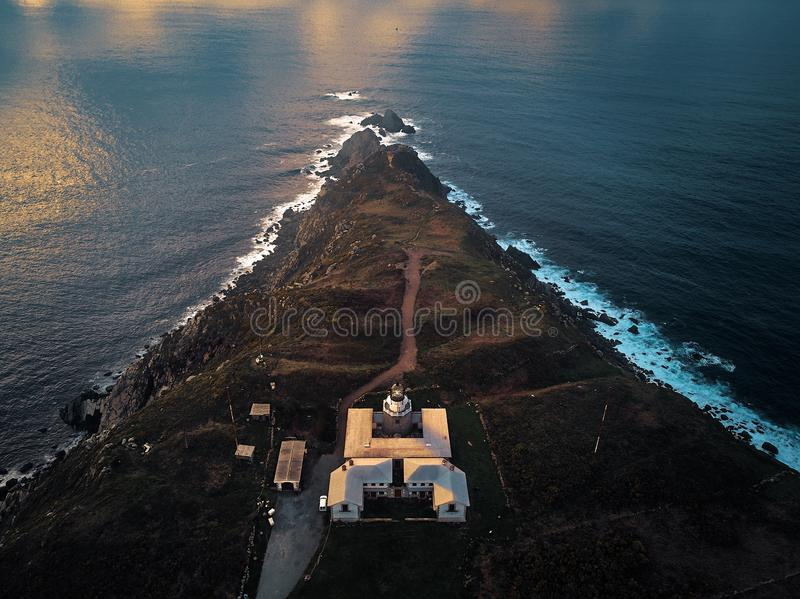 Estaca de Bares in the golden hour. Top view in the golden hour with a drone of Estaca de Bares, Galicia stock image