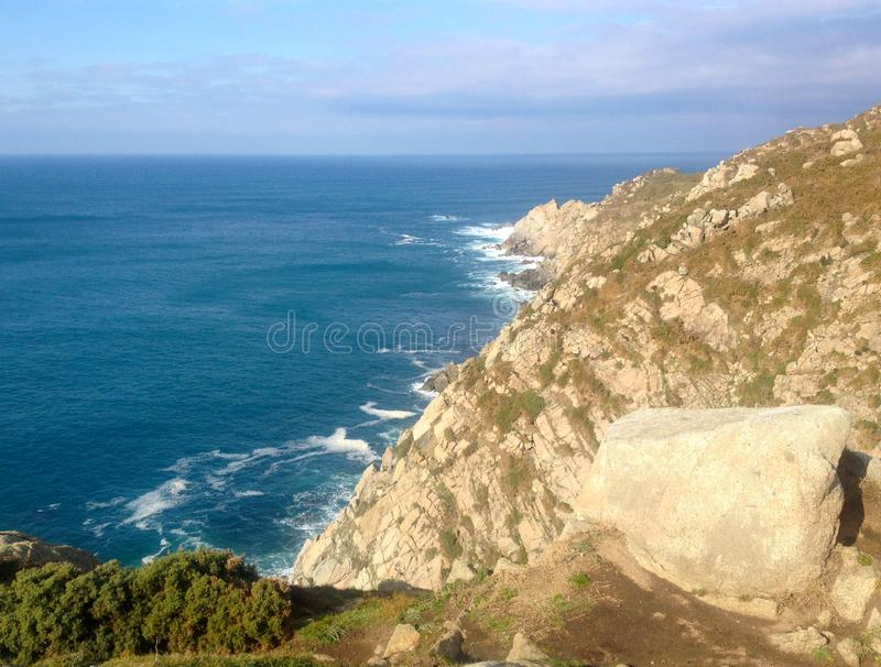 Estaca de Bares is the northernmost point of the Iberian Peninsula. Province of A Coruna, Galicia, Northern Spain. Estaca de Bares is the northernmost point of stock photography