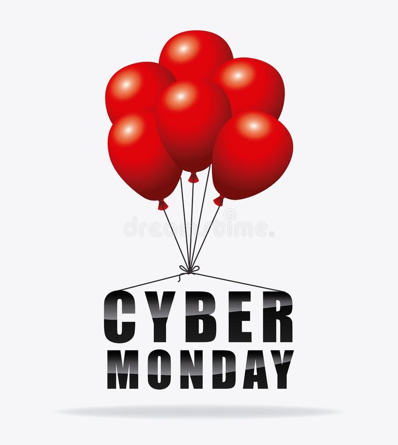 Estación cibernética de las compras de lunes ilustración del vector