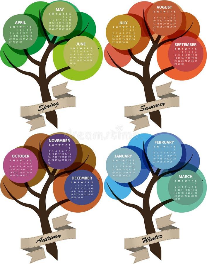 estación de 2014 calendarios stock de ilustración