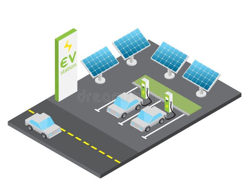 Estación de carga isométrica del vehículo eléctrico con concepto de la energía solar fotografía de archivo