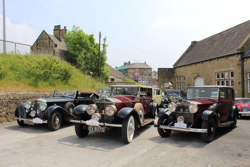 Estación de Carnforth de los coches de Rolls Royce del vintage imágenes de archivo libres de regalías