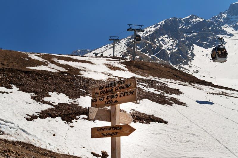 Estación de esquí de Shymbulak Paso de Talgar imagen de archivo