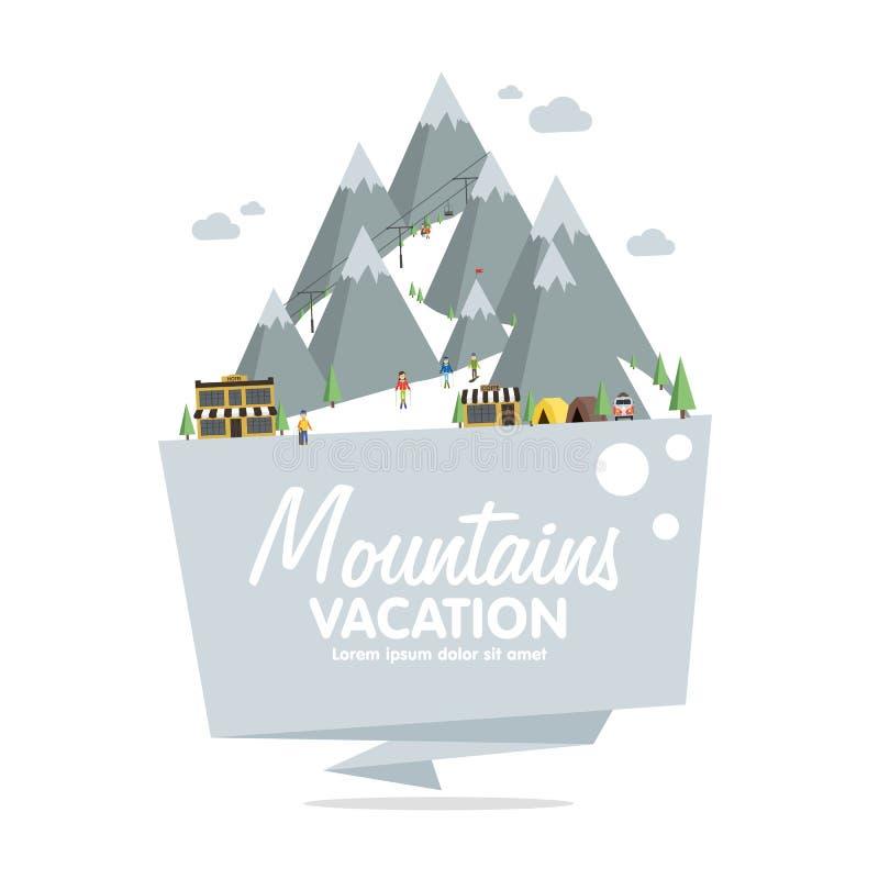 Estación de esquí en montañas, invierno, nieve y la diversión libre illustration